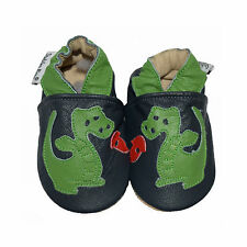 Dinosaur Green Handmade soft sole genuine Goat leather baby & kids shoes