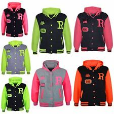 Kids Jacket Girls Boys R Fashion Baseball Hooded Jacket Varsity Hoodie 2-13 Year