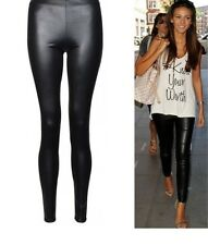 New Womens Ladies Shiny Wet Look Black Faux Leather Full Length Ankle Leggings