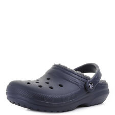 Womens Crocs Classic Fleece Lined Navy Charcoal Clogs Sandals Shu Size
