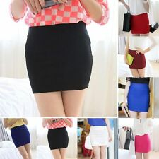 Sexy Women Mini Skirt Slim Seamless Stretch Tight Short Fitted Candy Color Dress