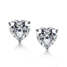 1ct Heart shaped 5mm Solitaire Rhodium plated 925 Silver Stud Earrings