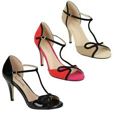 LADIES ANNE MICHELLE F10573 HEELED MULES WOMANS OPEN TOE FORMAL EVENING SANDALS