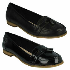 ANGELICA CRUSH LADIES CLARKS BLACK LEATHER PATENT TASSEL SLIP ON LOAFER SHOES