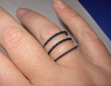 ONE GENUINE BLUE DIAMOND VERY THIN BAND STACK RING RHODIUM/STERLING SILVER