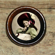 VICTORIAN GIRL w Large Letter Fashion altered Art Tie Tack or Ring or Brooch pin