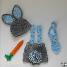 Easter Bunny Hat, diaper cover,carrot & tie-Gray/Blue Newborn to 12 mos~handmade