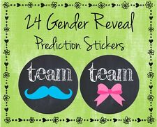 "24 Gender Reveal Baby Shower - Guess Boy Or Girl Team Pink or Blue  - 2"" Glossy"