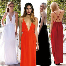 Sexy Women Spaghetti Strap Cross Backless Evening Party Maxi Long Dress Clubwear