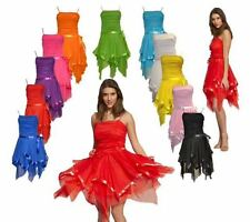WOMENS LADIES SLEEVELESS CHIFFON ASYMMETRIC HEM RUCHED RIBBON PARTY PROM DRESS