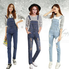 S-XL Girl Denim Overall Suspender Jean Women Trousers Pants Ripped Jumpsuit Blue