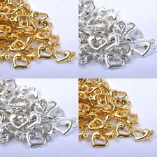 Wholesale 50Pcs Gold & SILVER PLATED, Metal Heart Lobster Clasps Hooks 13X9MM