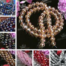 1x Strand 10MM Faceted Glass Crystal Round Spacer Bead For Bracelet Necklace DIY