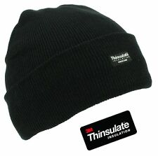 MENS THINSULATE LINED INSULATED WINTER SKI BEANIE WOOLY RIBBED CAP KNIT