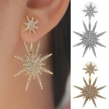 1 Pair Women Crystal Rhinestone Dangle Earrings Star Stud Earrings Gold/Silver