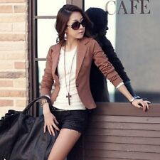 Women Fashion Slim Solid Suit Blazer Casual Jacket Coat Outwear One Button Tops
