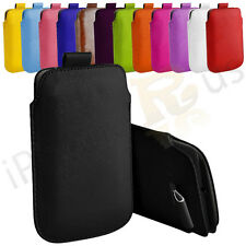 Large Premium PU Leather Pull Tab Case Cover Pouch For HTC One XL