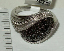 1.0CTW GENUINE BLACK & WHITE DOME BAND RING RHODIUM STERLING SIZE 7= UK SIZE O