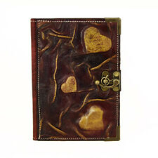 Heart Purple Refillable Handmade Leather Journal Notebook Diary Sketchbook