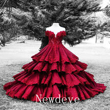 Red Luxury Flowers Wedding Dress Off Shoulder Tiers Train Bridal Gown Beads 2016