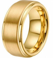 8mm Tungsten Ring Wedding Band  Yellow Gold Plated Matte Finish Comfort Fit