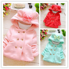 Kids Baby Girls Autum Winter Warm Button Hooded Coat Outerwear Jacket Outfits
