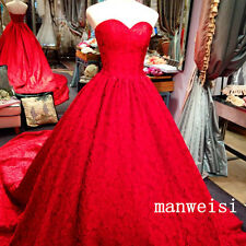 Stunning Red Sweetheart Lace Wedding Dress Bridal Ball Gown Chapel Train Custom