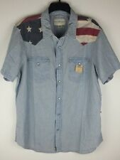 Denim & Supply Ralph Lauren Men American Flag Western Chambray Shirt L XL