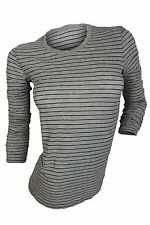 James Perse $175 NWT Heather Grey Black Striped Knit Top Women