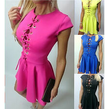 Womens Sexy Lace Up Neck Bodycon Top Clubwear Casual Evening Party Mini Dress