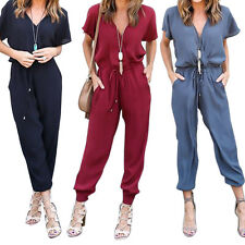 Womens Sexy V-Neck Lace Up Jumpsuit Pants Casual High Waist Evening Party Romper