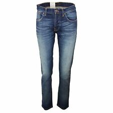 NUDIE JEANS GRIM TIM DRY CRISPY WORN MENS BLUE STRAIGHT SLIM FIT DENIM