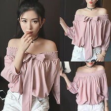 Sexy Womens 3/4 Sleeves Tops Pullover Off Shoulder Casual Loose T Shirt Blouse