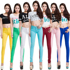 Womens Stretch Candy Pencil Pants Casual Slim Fit Skinny Jeans Trousers 19 Color