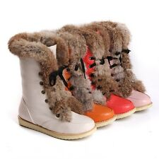 Womens Round Toe Mid Calf Boot Fur Furry Lace Up Warm PU Leather Shoes Winter