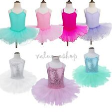 Girls Gymnastics Ballet Dress Sequin Kids Leotard Tutu Skirt Dance wear Costume