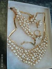 New Faux White Pearl/Clear Rhinestone Necklace-Earrings-Bracelet-Ring Sets