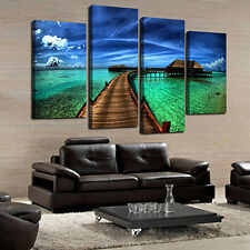 4X Seaside Floral Oil Painting Pictures Living Room Wall Art Home Decor Retro