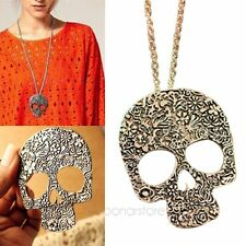 Retro Style Gothic Huge Carved Skull Pendant Necklace Chain Gift 2 Colors