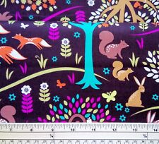 Cute Forest Animal Print Fabric 100% Cotton By Michael Miller. Cut From the Bolt