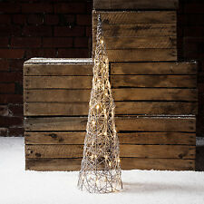 Grey Wicker Light Up LED Cone Christmas Decoration for Indoor Outdoor Use