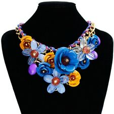Retro Crystal Statement Choker Flower Necklace Chunky Collar Pendant Jewelry HOT