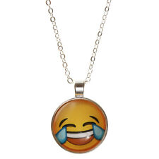 Fashion Glass Emoji Cabochon Choker Pendant Silver Plated Chain Necklace Gift
