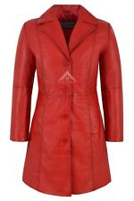 Chic Style Ladies Red Classic Trench Mid Length Designer Leather Jacket Coat