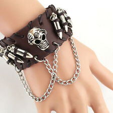 Cool Punk Boy Bullet Skull Link Chain PU Leather Bracelet Cuff Wristband Gothic