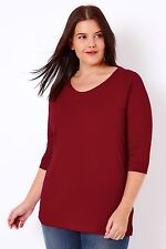 Plus Red Band Scoop Neckline T-shirt With 3/4 Sleeves 16-36