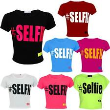 "KIDS GIRLS NEW SEASON "" # SELFIE "" PRINTED CROP TOP T SHIRT 7 8 9 10 11 12 13 Yr"