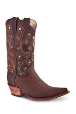 New Womens Brown Cowgirl Western Leather Boots REDHAWK 36015 Size 5-10 (B, M)