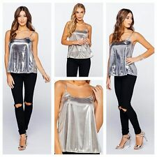 WOMENS LADIES SLEEVELESS STRAPPY SWING FOIL METALLIC SILVER GOLD CAMI VEST TOP
