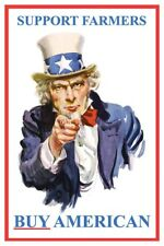 Support Farmers Buy American Patriotic Uncle Sam Poster Free Shipping